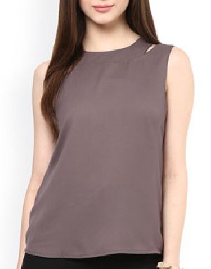 Ladies Plain Sleeveless Round Neck T-Shirts