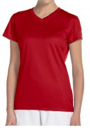 Ladies Sports Half Sleeve V Neck T-Shirts