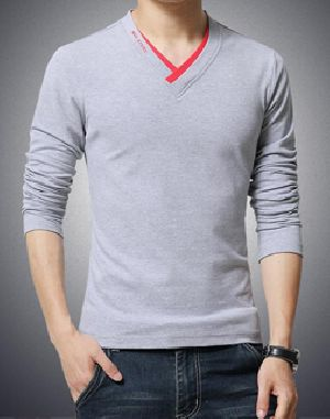Mens Promotional Full Sleeve V Neck T-Shirts