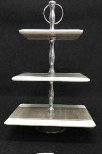 Marble Wood Cake Stand 01