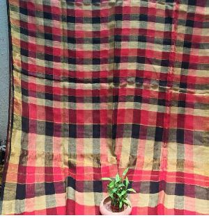 Linen Check Saree 01