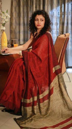 Linen Khadi Cotton Saree 03