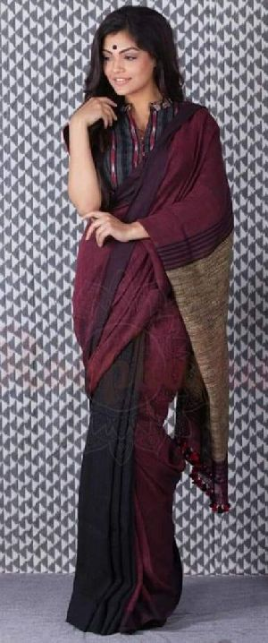 Linen Khadi Cotton Saree 06