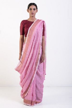 Linen Saree With Golden Zari Border 01