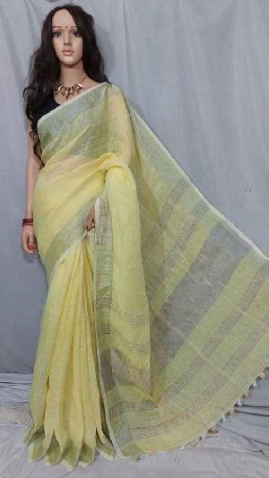 Linen Saree With Silver Zari Border 01