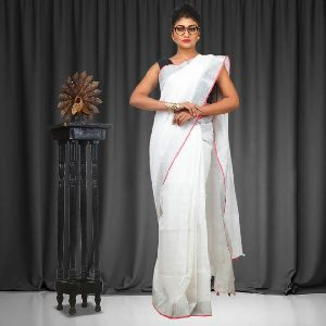 Linen Saree With Silver Zari Border 02
