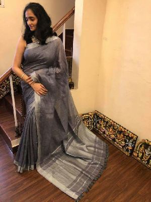 Linen Saree With Silver Zari Border 04