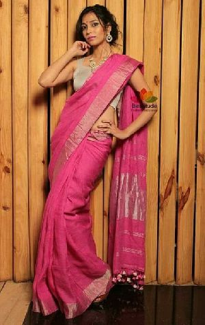 Linen Saree With Silver Zari Border 05