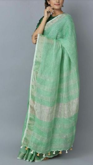 Linen Saree With Silver Zari Border 06