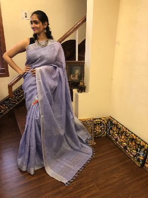 Linen Saree With Silver Zari Border 07