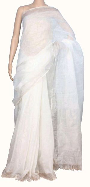 Linen Saree With Silver Zari Border 14