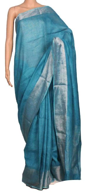Linen Saree With Silver Zari Border 15