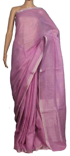 Linen Saree With Silver Zari Border 16