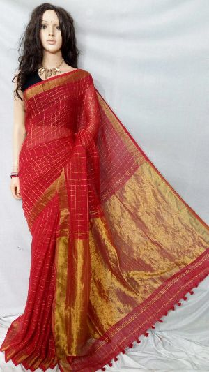 Striped Linen Saree With Zari 02