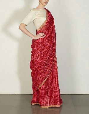 Striped Linen Saree With Zari 03
