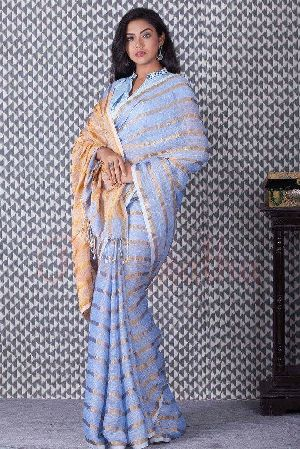 Striped Linen Saree With Zari 04