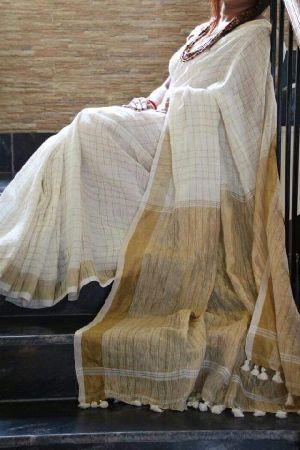 Striped Linen Saree With Zari 08