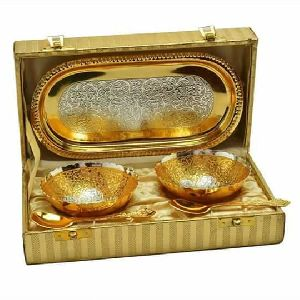 Gold Plated Bowl & Tray Set