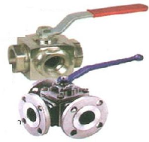 SS Three Way Flanged End Ball Valve
