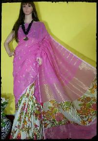 A006 Pink White Sarees