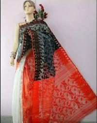 Red White Net Sarees