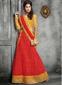 Yellow Border Lehenga Choli