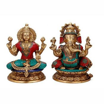 Brass Stone Work Laxmi Ji & Ganesh Statue