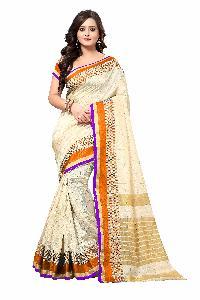 Banarasi Square Orange Silk Saree