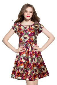 D-08c Royal Red Western Dress