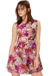 D-19 Floral Pink Western Dress