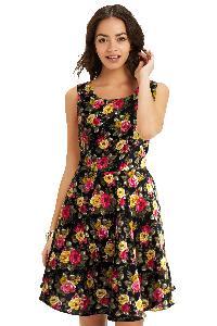 D-21 Floral Black Western Dress