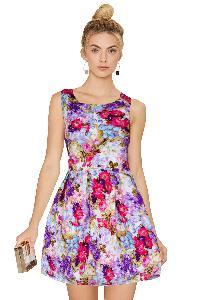 D-22 Floral Purple Western Dress