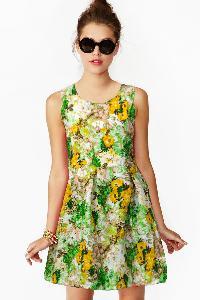 D-23 Floral Green Western Dress