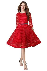D-31 Maxican Red Western Dress