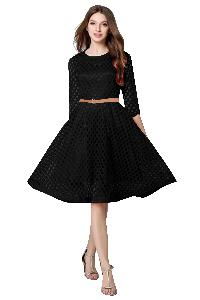 D-36 Maxican Black Western Dress