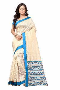 Rajwadi Blue Silk Saree