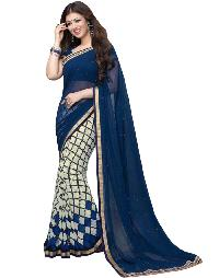 Silk Saree (A3 Blue Checks)