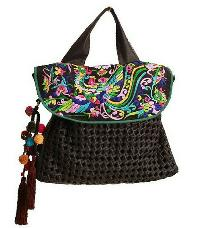 Ladies Leather Embroidered Hand Bags