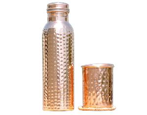 Copper hammered Water Bottle With Glass.