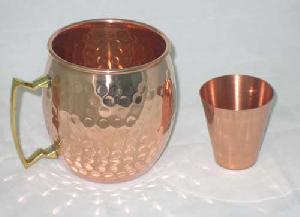 COPPER MUG BRASS HANDLE WITH SHOT GLASS.