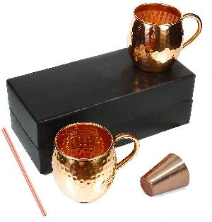 COPPER MUG STRAW , SHOT GLASS WITH GIFT BOX