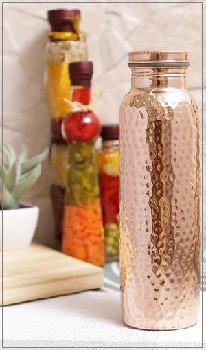 FDA Approved Hammered 100% Pure Copper Water Bottle,