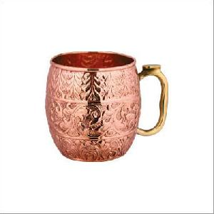 MOSCOW MULE COPPER MUG WITH BRASS HANDLE.
