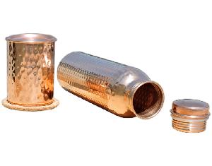 Pure Copper Water Bottle High With Glass.