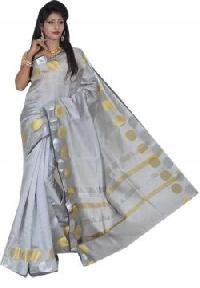Silver Chanderi Silk Saree