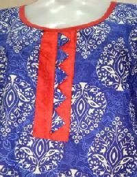 Blue & Red Printed Cotton Kurti