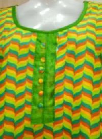 Yellow & Green Printed Cotton Kurti