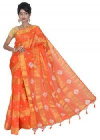 Orange Manipuri Kota Cotton Saree