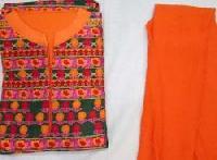 Ladies Orange & Green Embroidered Unstitched Suits