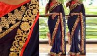 Navy Blue & Red Party Wear Saree